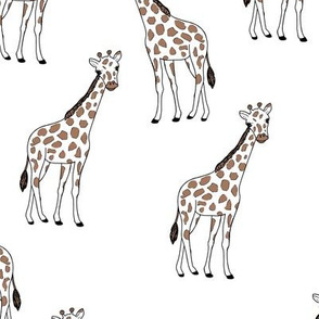 Little giraffe and spots minimalist style illustration wild life rust brown black outline on white LARGE