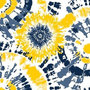 Yellow and Blue Tie Dye- small 12 inch repeat
