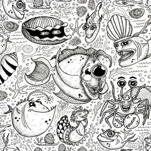 custom order: black and white fish shells sea ocean, jumbo large scale