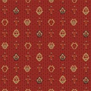 stylized flowers crimson 2058-56