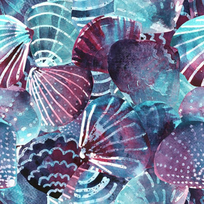 watercolor seashells by rysunki_malunki