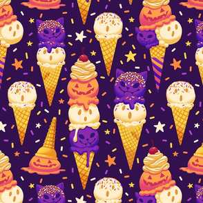 Spooky Ice Cream Friends on Purple 2X