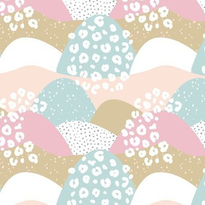 Little gritty mountains and hills water waves organic abstract landscape design scandinavian style spots pastel pink blush