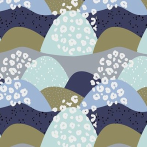 Little gritty mountains and hills water waves organic abstract landscape design scandinavian style spots olive green blue gray neural