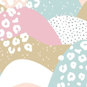 Little gritty mountains and hills water waves organic abstract landscape design scandinavian style spots pastel pink blush LARGE