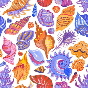 Bright pattern with hand-painted seashells