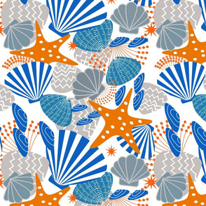 Seashells Magic in Blue and Orange s