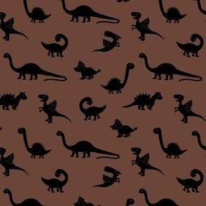 Little minimalist wild dinosaurs sweet kids dino design boho style cacao chocolate brown black