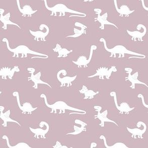 Little minimalist wild dinosaurs sweet kids dino design boho style mauve purple white