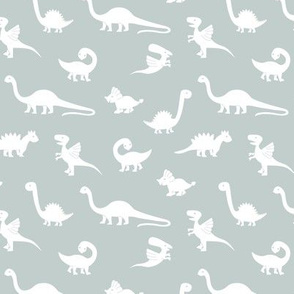 Little minimalist wild dinosaurs sweet kids dino design boho style mist green white