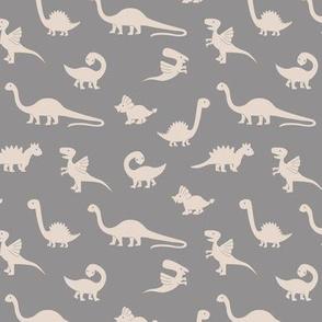 Little minimalist wild dinosaurs sweet kids dino design boho style gray beige sand neutral