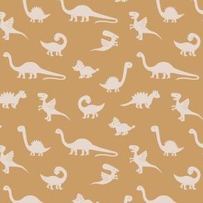 Little minimalist wild dinosaurs sweet kids dino design boho style cream ochre yellow mustard