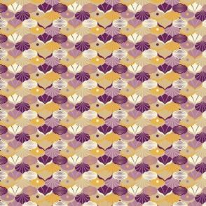 Sea shells geometric art deco plum gold