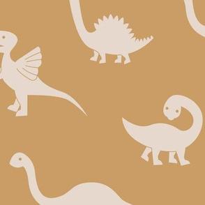 Little minimalist wild dinosaurs sweet kids dino design boho style cream ochre yellow mustard LARGE