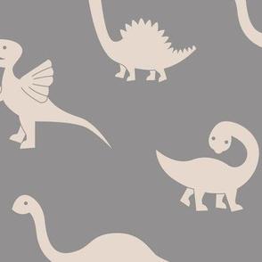 Little minimalist wild dinosaurs sweet kids dino design boho style gray beige sand neutral LARGE