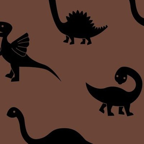 Little minimalist wild dinosaurs sweet kids dino design boho style cacao chocolate brown black LARGE
