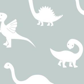 Little minimalist wild dinosaurs sweet kids dino design boho style mist green white LARGE
