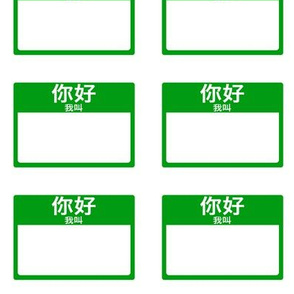 Cut-and-sew Chinese 'hello my name is' nametags in green