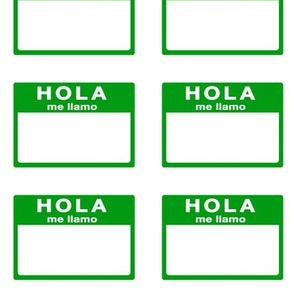 Cut-and-sew Spanish 'hola me llamo' nametags in green