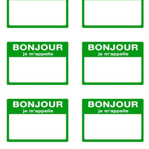 Cut-and-sew French 'bonjour je m'appelle' nametags in green