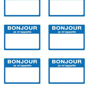 Cut-and-sew French 'bonjour je m'appelle' nametags in blue
