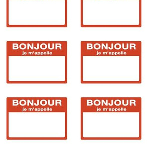 Cut-and-sew French 'bonjour je m'appelle' nametags in red