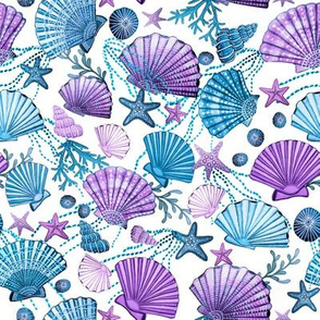 seashell and starfish with seaweed lilac, purple and  blue on white
