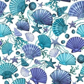seashell and starfish with seaweed teal, purple and  blue on white