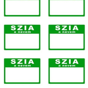 Cut-and-sew Hungarian 'hello my name is' nametags in green