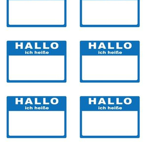 Cut-and-sew German 'hallo ich heiße' nametags in blue