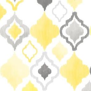 Yellow and Grey Quatrefoil