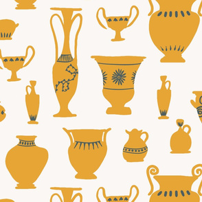 Large Antique Vases in Golden Yellow and Teal Classical Rome Greek Antique Vessels