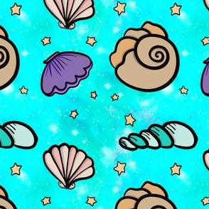 Sea Shells on Starry Aqua Sky