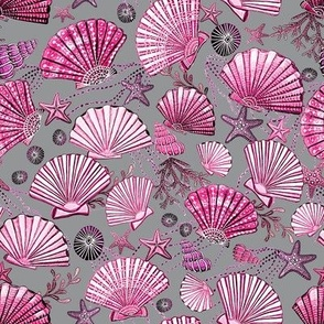 seashell and starfish with seaweed fuchsia pink and ultimate gray