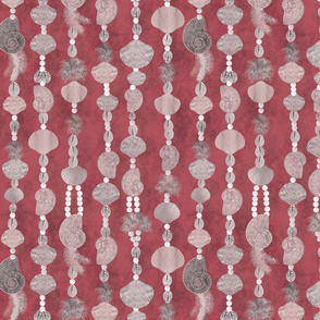 seashells-pearls and feathers_red