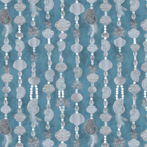 seashells-pearls and feathers_teal