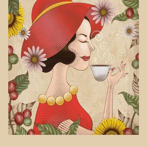 Lady Drinks Coffee Tea Towel