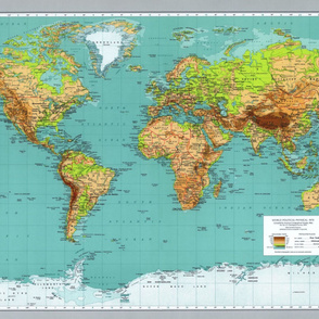 """Vintage world map, XL (repeating, for one yard of 54"""" wide fabric)"""