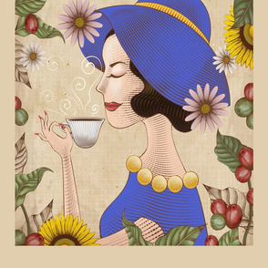Lady Drinks Coffee Tea Towel Blue
