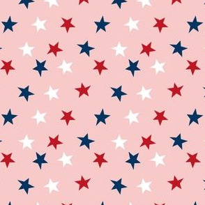 SMALL stars usa merica america fabric red white and blue  pink