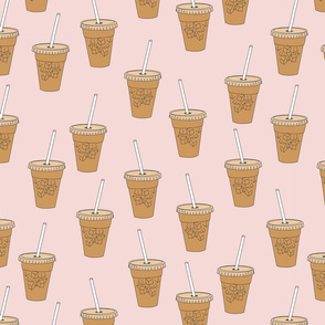 LARGE iced coffees fabric - coffee fabric, latte fabric, coffee design, cute coffee, - blush