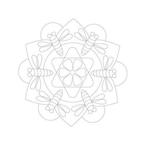 Honey Bee Flower Mandala to Embroider or Paint