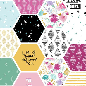 Girl Power Affirmation Hexagons - 2 yd repeat (no cut lines, seamless pattern repeat)