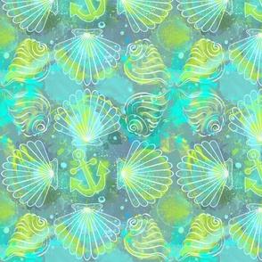 Sea shell in sea foam