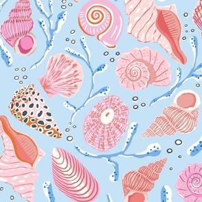 seashells/pink on blue/jumbo