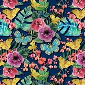 Moody Blue Floral Jungle tropical with orchids, hibiscus, palms and tropical moths rotated