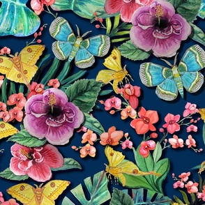 Moody Tropical Jungle Flowers and moths on dark blue // hibiscus, moth, orchid and palm leaf fabric and wallpaper