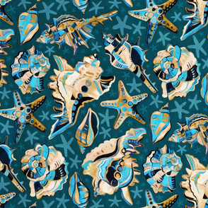 Fauvist-style Scattered Seashells - Blue and Mustard - large