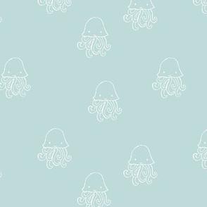 Sweet little jelly fish under water ocean animals series kids soft baby blue white