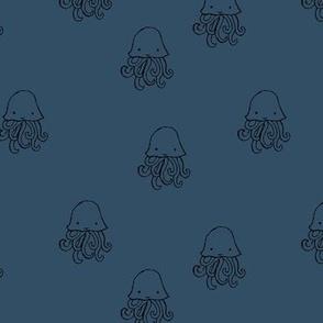 Sweet little jelly fish under water ocean animals series kids baby blue black night